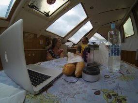 breakfast on a catamaran